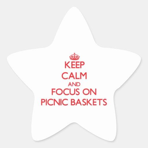 Guarde la calma y el foco en cestas de la comida c calcomania cuadrada personalizada