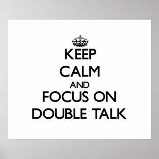 Guarde la calma y el foco en charla doble posters