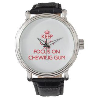 Guarde la calma y el foco en chicle relojes de pulsera