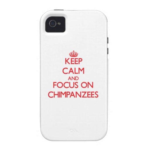 Guarde la calma y el foco en chimpancés Case-Mate iPhone 4 carcasa