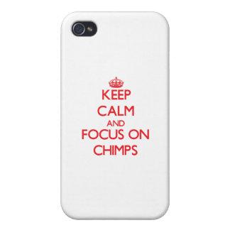 Guarde la calma y el foco en chimpancés iPhone 4 protectores