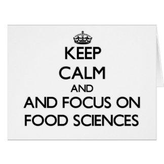 Guarde la calma y el foco en ciencias de la tarjeta de felicitación grande