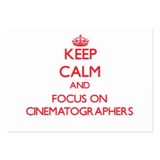 Guarde la calma y el foco en cinematógrafos tarjeta de visita