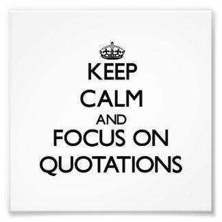 Guarde la calma y el foco en citas cojinete