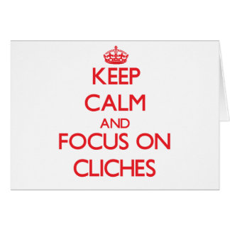 Guarde la calma y el foco en clichés tarjeta de felicitación
