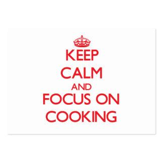 Guarde la calma y el foco en cocinar tarjetas de visita grandes