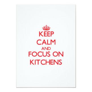 """Guarde la calma y el foco en cocinas invitación 5"""" x 7"""""""