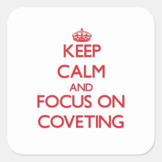 Guarde la calma y el foco en codiciar colcomanias cuadradas