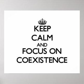 Guarde la calma y el foco en coexistencia poster