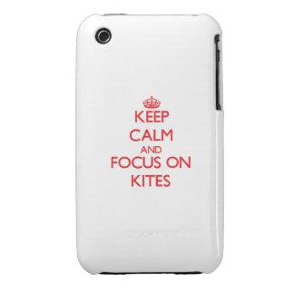 Guarde la calma y el foco en cometas Case-Mate iPhone 3 carcasas