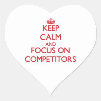 Guarde la calma y el foco en competidores pegatinas de corazon personalizadas
