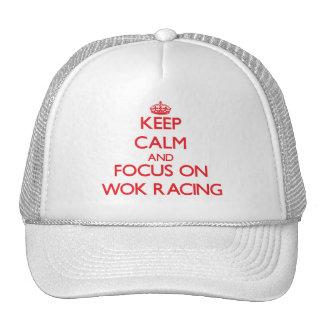 Guarde la calma y el foco en competir con del Wok Gorro De Camionero