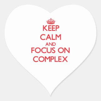 Guarde la calma y el foco en complejo pegatinas corazon personalizadas