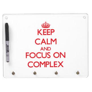Guarde la calma y el foco en complejo pizarras blancas