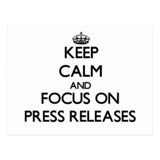 Guarde la calma y el foco en comunicados de prensa postales