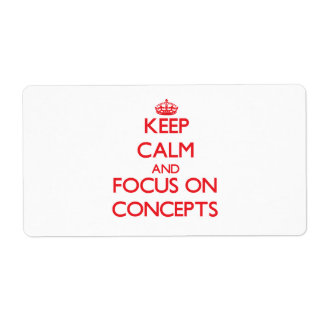 Guarde la calma y el foco en conceptos etiqueta de envío