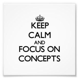 Guarde la calma y el foco en conceptos fotografía