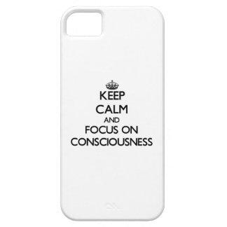 Guarde la calma y el foco en conciencia iPhone 5 protector