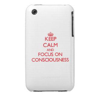 Guarde la calma y el foco en conciencia iPhone 3 Case-Mate carcasas