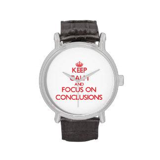 Guarde la calma y el foco en conclusiones relojes