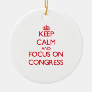 Guarde la calma y el foco en congreso ornaments para arbol de navidad