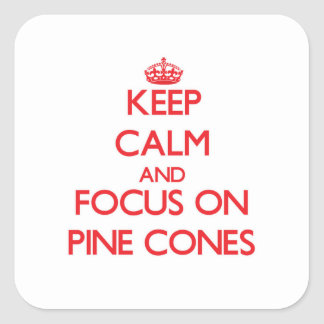 Guarde la calma y el foco en conos del pino calcomanías cuadradass
