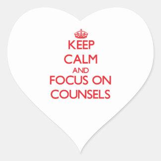 Guarde la calma y el foco en consejos calcomanías de corazones personalizadas