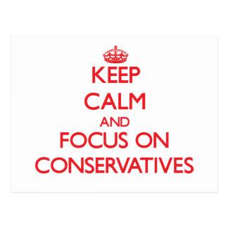 Guarde la calma y el foco en conservadores postales