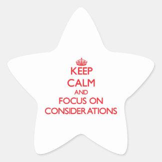 Guarde la calma y el foco en consideraciones calcomanías forma de estrellas personalizadas