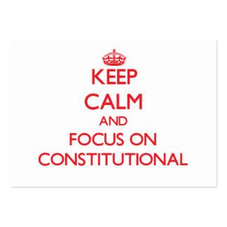 Guarde la calma y el foco en constitucional tarjetas de negocios