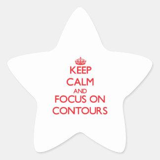 Guarde la calma y el foco en contornos pegatinas forma de estrella