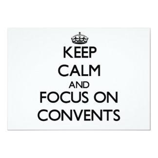 """Guarde la calma y el foco en conventos invitación 5"""" x 7"""""""