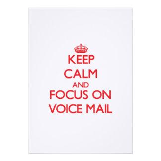 Guarde la calma y el foco en correo de voz anuncio