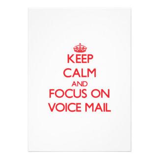 Guarde la calma y el foco en correo de voz invitacion personalizada
