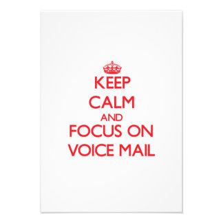 Guarde la calma y el foco en correo de voz anuncios