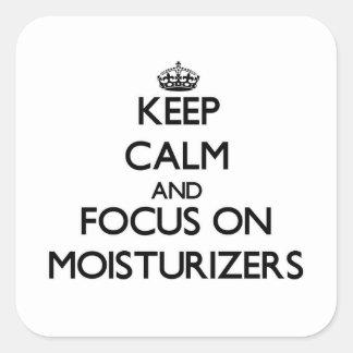 Guarde la calma y el foco en cremas hidratantes calcomanía cuadradas personalizadas