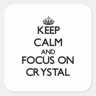 Guarde la calma y el foco en cristal pegatinas cuadradases