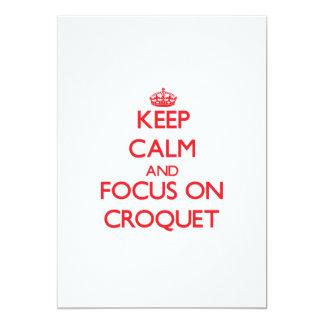 """Guarde la calma y el foco en croquet invitación 5"""" x 7"""""""