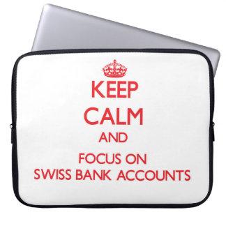 Guarde la calma y el foco en cuentas bancarias fundas computadoras