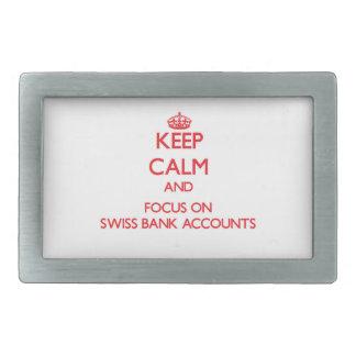 Guarde la calma y el foco en cuentas bancarias hebilla de cinturón