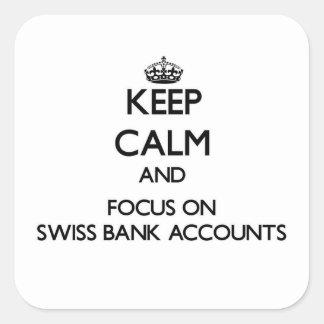 Guarde la calma y el foco en cuentas bancarias calcomania cuadradas personalizada
