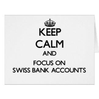 Guarde la calma y el foco en cuentas bancarias sui felicitaciones