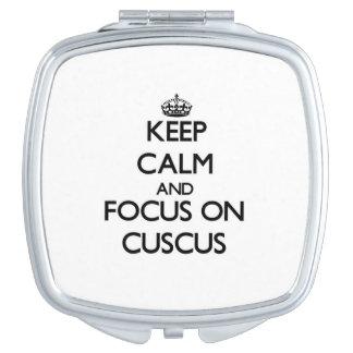 Guarde la calma y el foco en Cuscus Espejo Para El Bolso