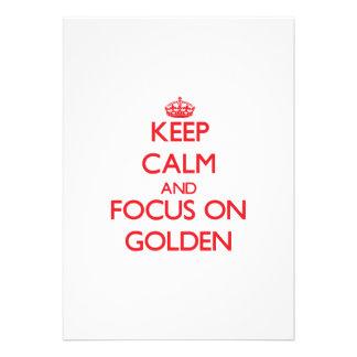 Guarde la calma y el foco en de oro