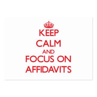 Guarde la calma y el foco en DECLARACIONES JURADAS Tarjetas Personales