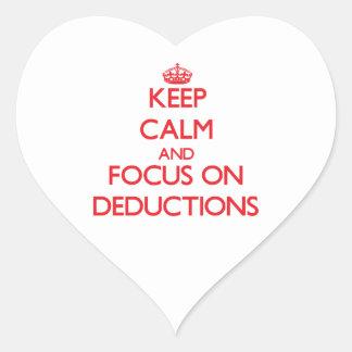 Guarde la calma y el foco en deducciones calcomanías corazones personalizadas