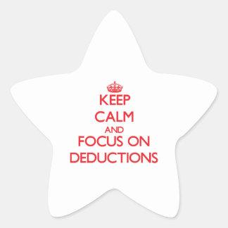 Guarde la calma y el foco en deducciones calcomanías forma de estrellas personalizadas