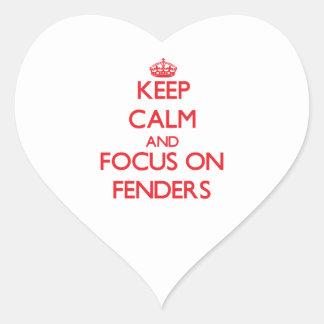 Guarde la calma y el foco en defensas calcomanía de corazón personalizadas