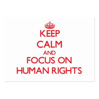 Guarde la calma y el foco en derechos humanos tarjetas de visita