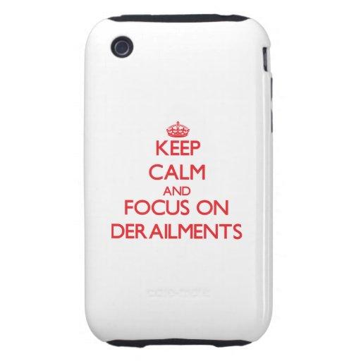 Guarde la calma y el foco en descarrilamientos tough iPhone 3 carcasa